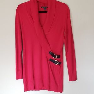 INC Red Sweater with Buckle Accent Size Medium
